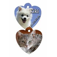 Médaille coeur pour animaux personnalisée avec photo, nom et n° de téléphone