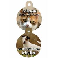 Médaille ronde pour animaux personnalisée avec photo, nom et n° de téléphone