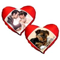 Coussin coeur rouge personnalisé avec votre photo et texte