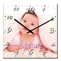 Pendule murale carré personnalisée avec votre photo et texte