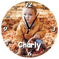 Pendule murale ronde personnalisée avec votre photo et texte