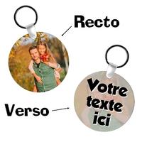 Porte-clés rond personnalisé avec votre photo et texte
