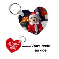 Porte-clés coeur personnalisé avec votre photo et texte