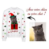 Sweat pull blanc Noël personnalisé avec la photo de votre chien ou chat