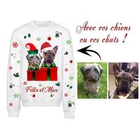 Sweat pull blanc Noël personnalisé avec la photo de vos chiens ou chats (2 compagnons)
