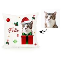 Coussin Noël personnalisé avec la photo de votre animal