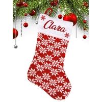Botte Chaussette de Noël en Laine rouge et blanche motif flocons personnalisée avec prénom