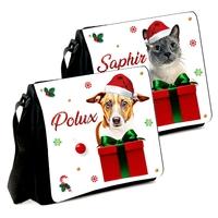 Sac à bandoulière Noël personnalisé avec photo de votre chien ou chat