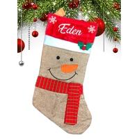 Botte chaussette de noël (ref K01) Bonhomme de neige personnalisée avec prénom