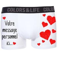 Boxer caleçon homme Amour Coeurs St Valentin personnalisé avec votre message