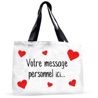 Grand sac cabas Amour coeurs St Valentin personnalisé avec votre message