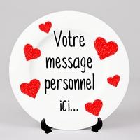 Assiette Amour coeurs St Valentin personnalisée avec votre message