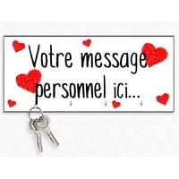 Accroche clés mural en bois Coeurs Amour St VAlentin personnalisé avec message