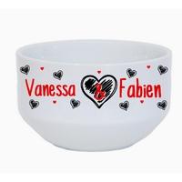 Bol à petit déjeuner Amour St Valentin personnalisé avec prénoms au choix