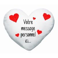 Coussin coeur Amour St Valentin personnalisé avec votre message