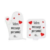 Gant et manique de cuisine Amour St Valentin personnalisé avec message