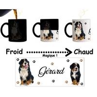 Mug tasse magique Chien Bouvier bernois personnalisé avec prénom