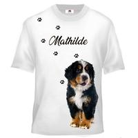 Tee shirt enfant Chien Bouvier bernois personnalisé avec prénom