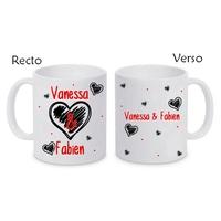 Mug (tasse) céramique Amour St Valentin personnalisé avec prénoms