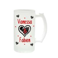 Chope à bière Amour St Valentin personnalisée avec prénoms
