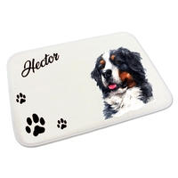Tapis gamelle pour chien Bouvier bernois personnalisé avec le nom de votre animal