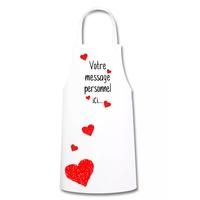 Tablier de cuisine Coeurs Amour St Valentin personnalisé avec votre message