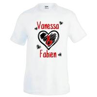 Tee shirt homme Amour Coeurs St Valentin personnalisé avec prénoms