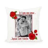Coussin Amour St Valentin Rose Rouge personnalisé avec votre photo et texte de votre choix