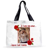 Grand sac cabas Amour St Valentin personnalisé avec votre photo et message