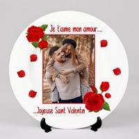 Assiette personnalisée Amour Rose rouge St Valentin avec votre photo et message
