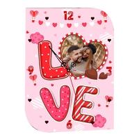 Pendule murale Love Amour St Valentin personnalisée avec votre photo