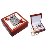 Boite à bijoux Amour rose rouge personnalisée avec votre photo et texte