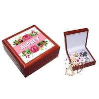 Boite à bijoux Fleurs personnalisée avec le prénom de votre choix