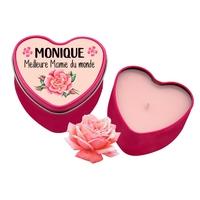 Bougie coeur Meilleure Mamie personnalisée avec votre prénom