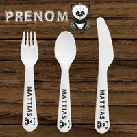 Couverts pour bébé Panda personnalisés avec le prénom de votre choix