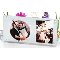 Cadre photo horloge miroir personnalisé avec 2 photos