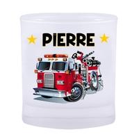 Verre Camion de pompier personnalisé avec prénom