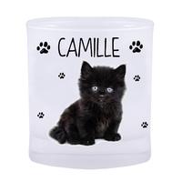 Verre Chat chaton noir personnalisé avec prénom