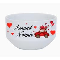 Bol à petit déjeuner Amour Mariage St Valentin personnalisé avec prénoms au choix