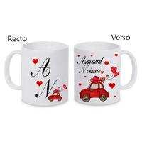 Mug (tasse) céramique Amour Mariage St valentin personnalisé avec prénoms