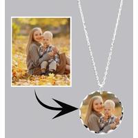 * Collier pendentif LUXE rond personnalisé avec votre photo