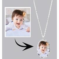 * Collier pendentif LUXE ovale personnalisé avec votre photo
