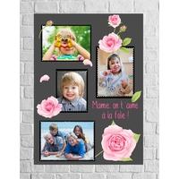 Tableau pêle-mêle en aluminium Fleurs roses avec vos photos  !