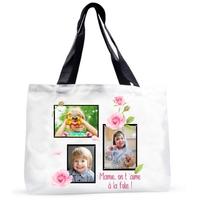 Grand sac cabas Pêle-mêle Roses personnalisé avec vos photos et message