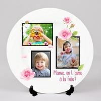 Assiette personnalisée Pêle-mêle Fleurs Roses avec vos photos et message