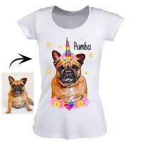 Tee shirt femme personnalisé avec la photo de votre chien ou chat en licorne