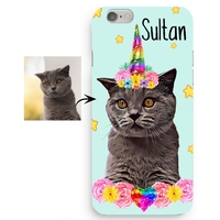 Coque Iphone 5/6/7/8/X/XR/XS personnalisée avec la photo de votre chien ou chat en licorne