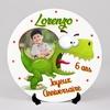Assiette personnalisée Dinosaure Dino rigolo avec votre photo, prénom, et texte au choix