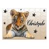 Puzzle Bébé tigre personnalisé avec prénom 35,70 ou 96 pièces