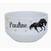 Bol à petit déjeuner Cheval noir personnalisé avec prénom au choix